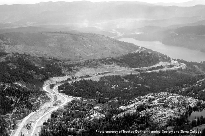 Photo of 1960 Donner Ridge Fire scarring from Donner Summit, courtesy of Truckee-Donner Historical Society and Sierra College