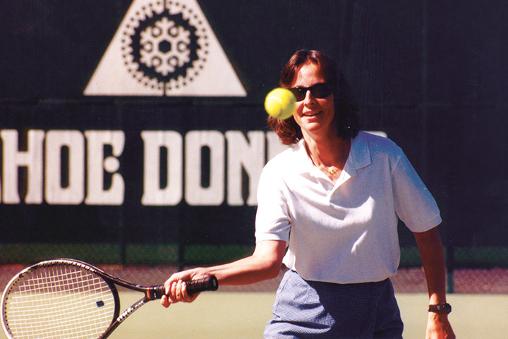 Vintage picture of a tennis player at Tahoe Donner Tennis Center