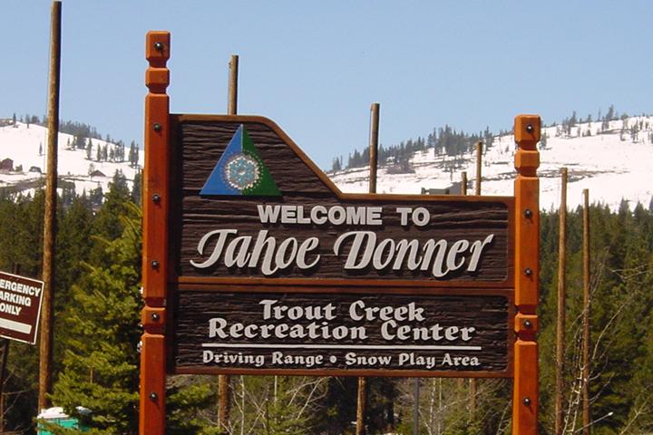Vintage Trout Creek Recreation Center sign