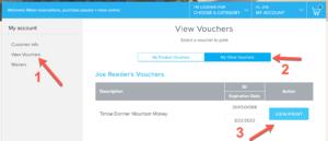 Mountain Money vouchers my account screenshot